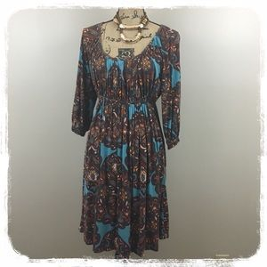 New York & Co. Turquoise/Brown Stretch Dress sz. S